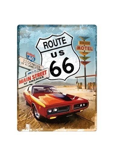 Nostalgic Art Route 66 Metal Pano Renkli